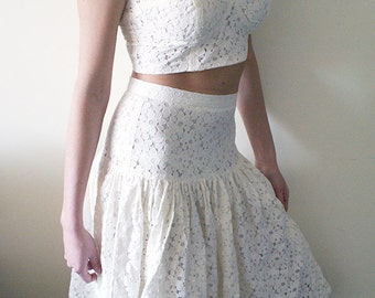 2 Piece S/M Cream White Lace Crop Top and High Waist Midi Skirt Set / Romantic Summer Soft Beige Matching Set / Festival Clothing