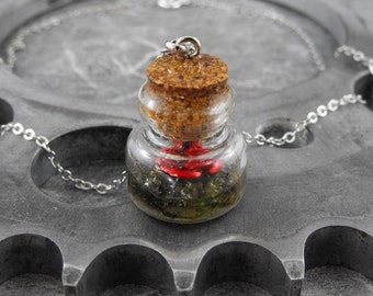 Terrarium Rose Moss Bottle Necklace - Because She Is My Rose In a Bottle by COGnitive Creations