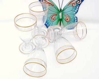Vintage Crystal Glassware, Gold Glasses, Cambridge Glass, Etched Iced Tea Glasses,  Set of 5