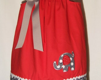 Elephant Bling Dress / Beautiful / Rhinestones / Red / Gray / Polka Dots / Newborn / Infant / Baby / Toddler / Custom Boutique Clothing