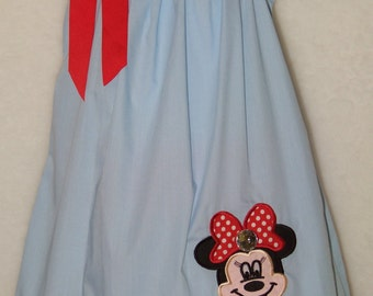 Minnie Mouse Pillowcase Dress / Disney / Blue / Red / Black / Birthday / Infant / Baby Girl / Toddler / Handmade / Custom Boutique Clothing