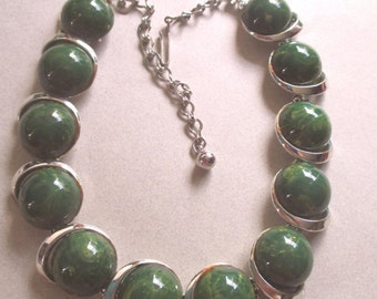 Bakelite Necklace Creamed Spinach 1950's Choker Necklace Catalin vintage costume jewelry green yellow MoonlightMartini