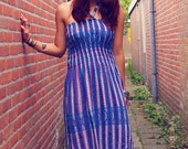 Bohemian Dress Mexican Woven Fabric Fringe Striped Strapless Halter Smocked Bust Summer Boho Hippie Gypsy Women's Eco-Friendly Clothing OOAK