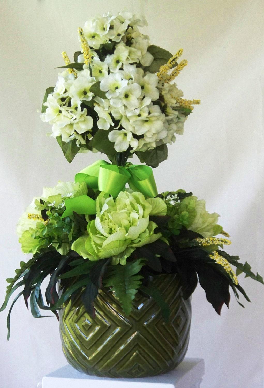 Green topiary peony silk flower arrangement hydrangea