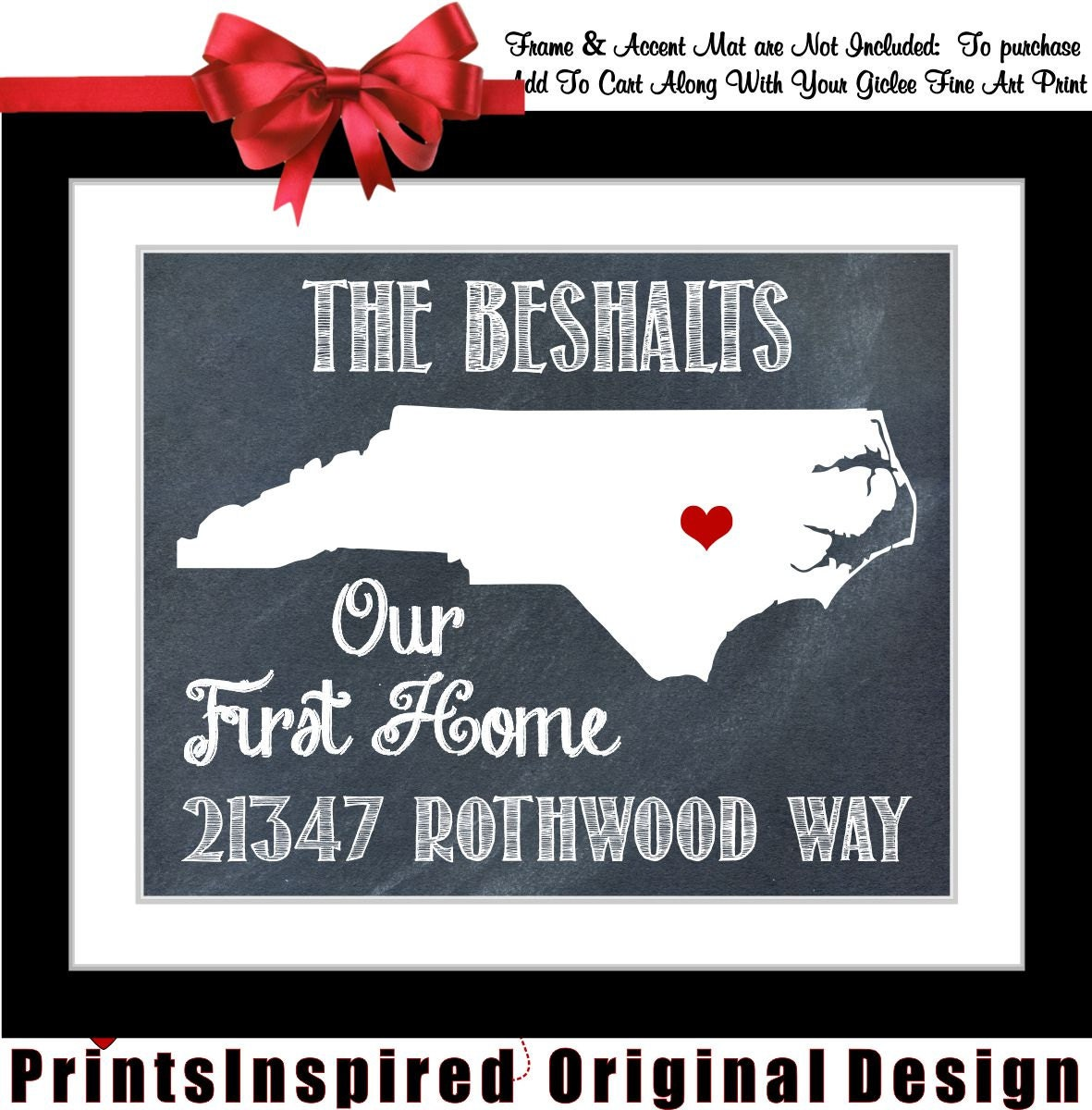 Housewarming Gift Personalized State Map Print: By