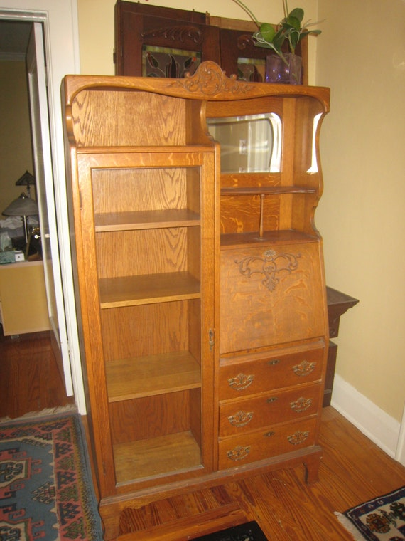 Items similar to Antique Oak Secretary Desk Bookcase circa 1900 on Etsy - Items Similar To Antique Oak Secretary Desk Bookcase Circa 1900 On