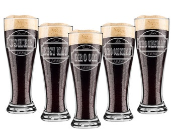 Groomsmen Gift, 8 Personalized Beer Glasses, Custom Engraved Pilsner Glass, Wedding Party Gifts