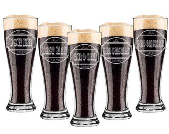 Groomsmen Gift, 10 Groomsmen Pint Glasses, Custom Engraved Pilsner Glass, Wedding Party Gifts