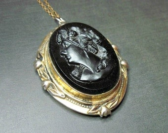 Huge Vintage Cameo Locket Necklace - 1930s to 1940s - Pendant - Black