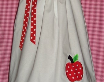 Apple Pillowcase Dress / Red / White / Green / School / Infant / Baby / Toddler/ Birthday / Handmade / Custom Boutique Clothing