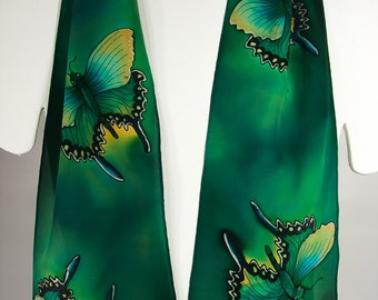 """Hand painted silk scarves~8x52""""~Swallowtail Butterfly Scarf~Painted silk scarves~Butterfly silk scarf~Silk scarf handpainted~Butterfly scarf"""