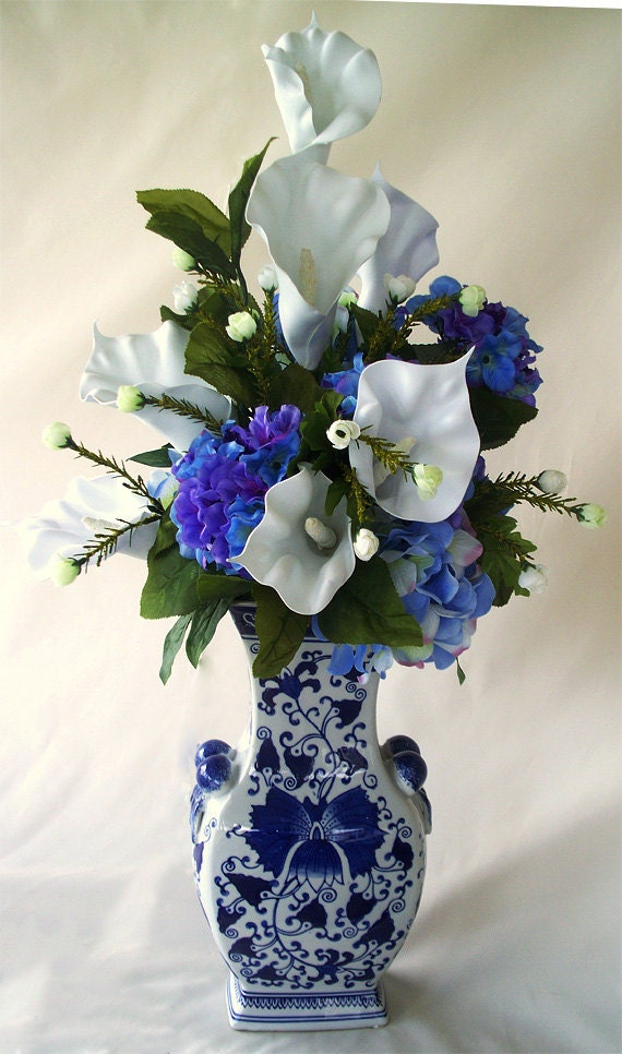 Blue And White Calla Lilies Hydrangea Flower Arrangements