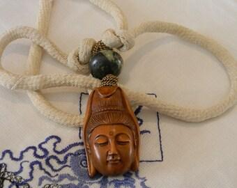 Kwan Yin Netsuke pendant w cord necklace , Goddess of Mercy  , Japanese carved Boxwood Netsuke necklace , Buddhist jewelry , Boxwood & cord
