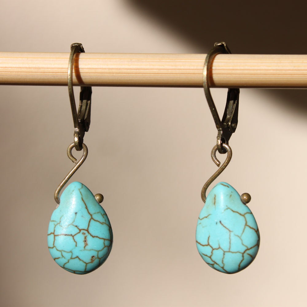 turquoise earrings drop earrings dangle earrings by. Black Bedroom Furniture Sets. Home Design Ideas