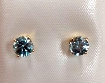 Blue Zircon earrings in 14kt Gold December Birthstone