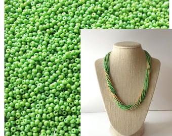 Lime green seed beads 11/0,Czech beads,apple green bead,rainbow seed beads,tiny beads,2mm beads,glass beads,rocaille beads,iridescent,BS7049