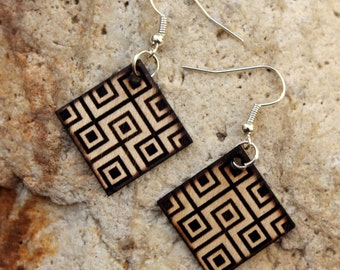 Laberintik. Birch wood earrings are cut and engraved laser textured Laberintik.