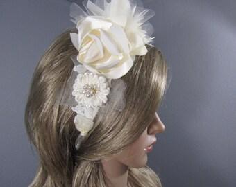 Ivory Bridal Headband, Wedding Headband with Ivory Lace & Flowers