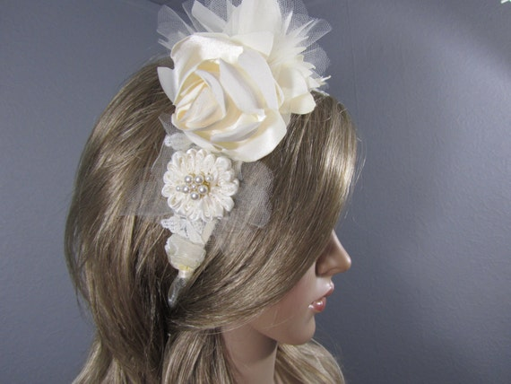 Ivory Bridal Headpiece, Wedding Headband, Bridal Lace Headpiece, Flower Head band, Bridal Accessory, Wedding Vail, Veil, Viel, Womens Gift