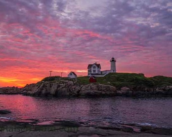 Nubble Lighthouse, York, Maine Sunrise,  Color Photograph