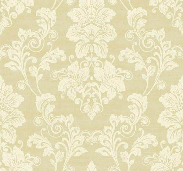 Elegant Cream Hallway With Damask Wallpaper: Elegant Cream & Gold Damask Wallpaper PS3802 Sold By The
