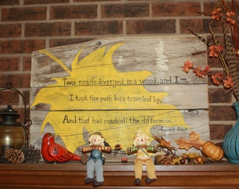 Barnwood Sign with Poem by Robert Frost