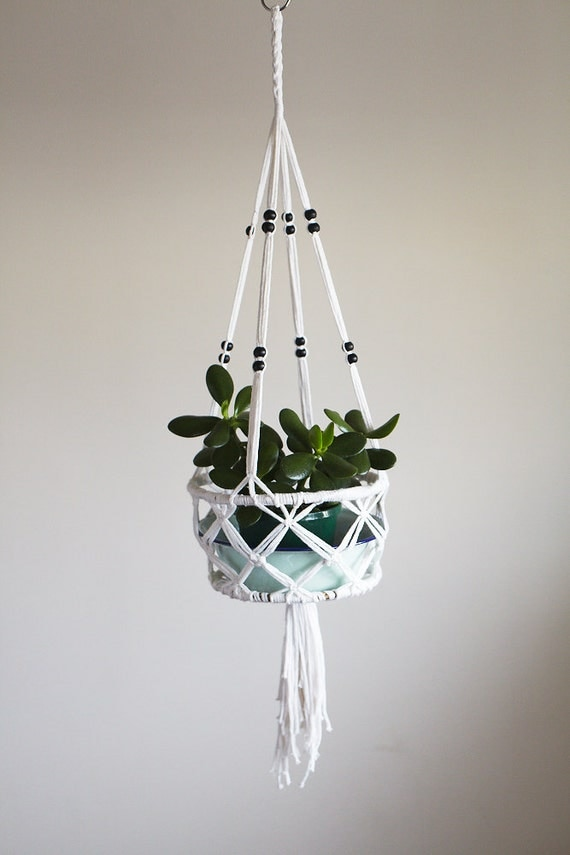 macrame hanging basket macrame pot plant hanging basket with small black bead 4489