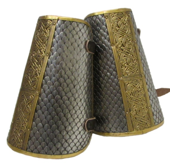Larp Armor Wyrmwick Celtic Scaled bracers, vambraces, saxon, viking, norman, SCA, LRP, Theatrical