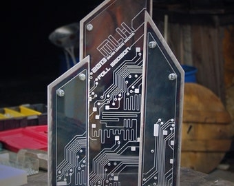 Custom Metal Trophy with Colored Steel & Printed Acrylic Accents