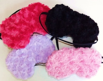 Sleep Mask - Soft Minky Fabric Front -  Pick Light Pink, Light Purple, Hot Pink or Black - Handmade - Fits Kids to Adults