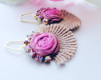 Sugar and Spice - Shabby Pink Roses Lace Earrings