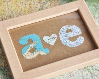 Boyfriend Gift First Anniversary Gift Map Initials Framed
