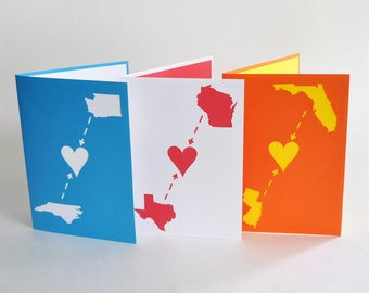 Long Distance Love Family Boyfriend Card Custom Made with Your Two States