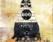 Halloween Black Cat Printable Altered Art Collage Card, Wall Art