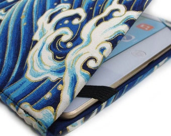 iPad AIR cover - Blue Waves - ocean wave hardcover iPad case - Japanese Waves - tablet case - gadget tech accessory