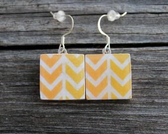 REDUCED Yellow Arrow Print Wooden Tile Earrings