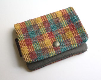 Lil' Pouch - Handwoven Teal Houndstooth