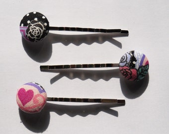 Japanese Fabric Covered Button Bobby Pins (Hair PIns 3)