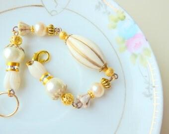 Wedding Bracelet, Statement Bracelet, Assemblage Jewelry, Vintage Flower Bracelet, Ivory Bracelet with Gold, Handmade by KreatedByKelly