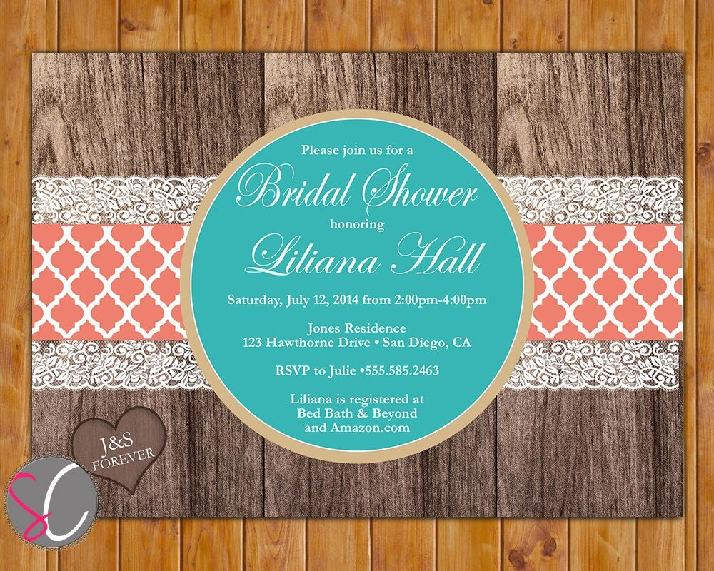 Coral And Teal Wedding Invitations: Teal Coral Elegant Rustic Country Bridal Shower Invitation