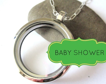 New Baby New Mother Locket - glass memory locket that holds keepsakes, photos, charms on 18 inch sterling chain