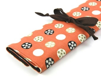 Knitting Needle Case - Mod Orange - IN STOCK brown pockets for all size needles or paint brushes