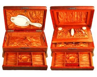 Antique Art Nouveau Orange Rust Velvet Covered Jewelry Box Fitted Vanity Set SECRET COMPARTMENTS Satin Lined Mirror Jars Art Deco Circa 1910