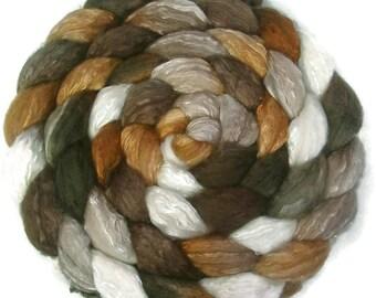 Handpainted Merino Silk 50/50 Wool Roving - 4 oz. CAPPUCCINO - Spinning Fiber
