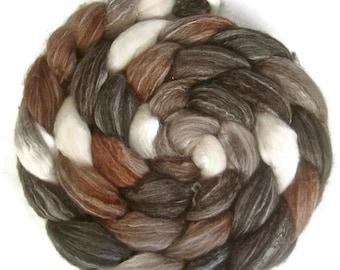 Handpainted Merino Bamboo Silk Roving - 4 oz. CAPPUCCINO - Spinning Fiber