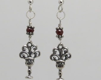 Ace of Cups earrings, Sterling Silver with faceted garnet and bali silver beads. all handmade.