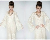 Crochet Lace Dress, Crochet Lace Wedding Dress, Boho Wedding Dress, Crochet Lace Ruffle Sleeve Dress, Ruffle Sleeve Wedding Dress