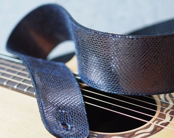 Pewter Python and Black Leather Guitar Strap