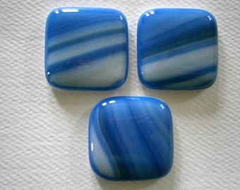 Fused Glass Cabochons 3 in Blue Ocean Streaks, Willow Glass Cabochons, Glass Cabs