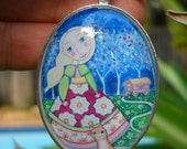 Gypsy art necklace jewelery glass tile oval pendant gift for friend gypsy girl with orange cat jewelery silver plated gypsy caravan pendant